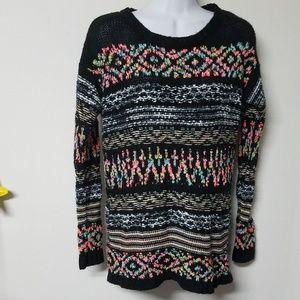 ☕ Cozy Xhilaration pastel rainbow black sweater M